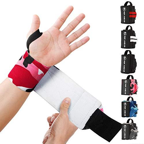 REP AHEAD® Wrist Wraps – Deine neuen Handgelenk Bandagen fürs Workout – Der extra bequeme 100% Handgelenkschutz für echte Athleten im Bereich Crossfit, Fitness, Calisthenics & Bodybuilding (Pink-Camo)