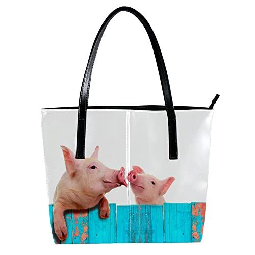 LORVIES Lustiges Schweinchen zum Aufhängen an einem blauen Zaun Umhängetasche aus PU-Leder und Handtasche für Damen