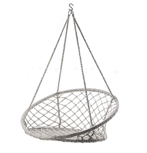 LMX-liv Macrame hangstoel schommel met weven gaas, Bohemen opknoping katoenen touw hangstoel voor binnen, buiten thuis, Patio, veranda, dek, tuin, tuin, leeskamer/Max Gewicht: 290 Ponden