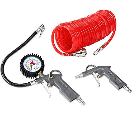 Deuba Druckluft Set 3tlg. 12 Bar für alle Kompressoren 5m Schlauch Ausblaspistole Zubehör Reifenfüller Luftdruckprüfer