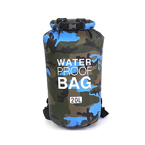 lingqing Bolsa impermeable portátil al aire libre Pvc Beach Bag 20L Camuflaje Rafting Bolsa impermeable hombro bolsa de cubo impermeable, adecuado para kayak, rafting y otras actividades acuáticas