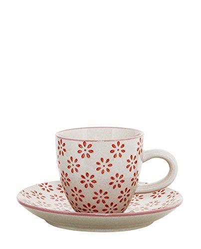 "Bloomingville ""Susie Espressotasse mit Unterteller handbemalt rot Gemustert"