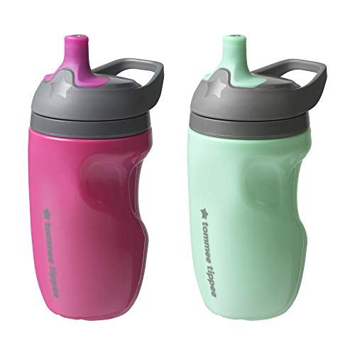 small Tommee Tippee Insulated Toddler Sports Water Bottle, with Handle, Girl – 12M +, 2 ct