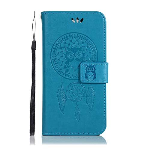 Sangrl Wallet Hülle Für Alcatel OneTouch Flash 2, Mode PU-Leder Handyhülle [Standfunktion] [Credit Card Holder] Flip Hülle Schutzhülle Owl with Dreamcatcher Muster - Blau