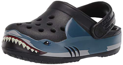 Crocs Baby Kid's Shark Band Clog|Slip On Water Shoe for Toddlers, Boys, Girls, Black, C7 M US