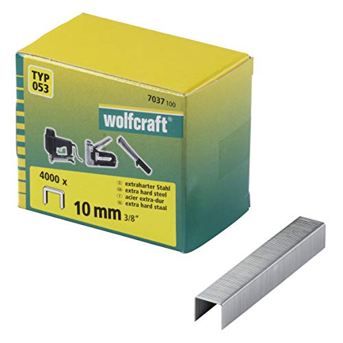 Wolfcraft 7037100 grapas de lomo ancho, tipo 053 PACK 4000, 10mm, Set...
