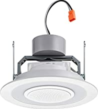 Lithonia Lighting 40K M6 6SL RD 07LM 4000K 90CRI MW 6-Inch Dimmable LED Module with Integrated Wireless Speaker, 730 Lumens, 120 Volts, 13 Watts, Wet Listed, Matte White