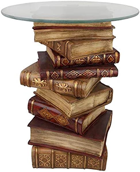 Design Toscano NG32069 Power Vintage Decor Stacked Books End Table With Glass Top 21 Inch Full Color