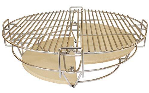 YNNI KAMADO TQDC25 - Parrillas con diámetro Externo de 25 Pulgadas de división de Parrilla y conquistar 6 Piezas con Soporte para ollas Universal TQDC25