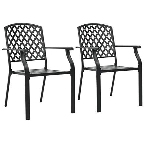 Festnight- 2 STK. Garten Stapelstühle Stapelbar Gartenstühle mit Armlehne Stapelstuhl Terrassenstuhl Stahlgewebe Metallnetz-Design 56 x 65 x 89 cm Schwarz