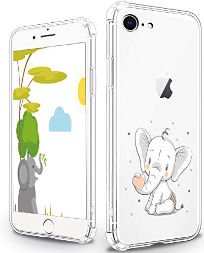 Custodia carina per iPhone 7/8/SE, motivo elefante fumetto trasparente in plastica trasparente con morbido TPU Bumper Cover protettiva per iPhone 7/8/SE - Cartoon Elephant B01