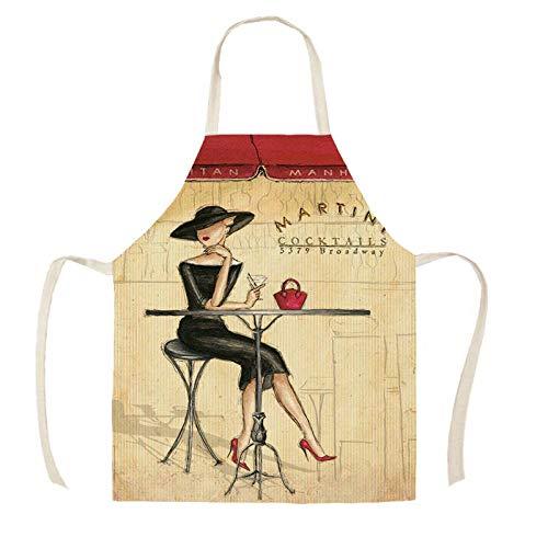 JJFU Schort linnen vrouw print keuken schorten unisex diner party koken slabbetjes funny pinafore reiniging schorten Wqc29303_38X47Cm