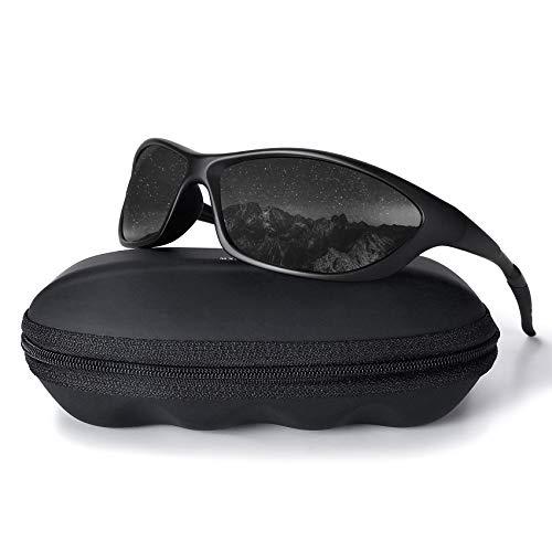 MXNX Polarized Sports Sunglasses for Men Driving Cycling Fishing 100% UV Protection-Matte Black Frame/Black Lens