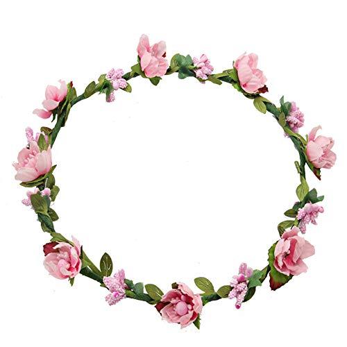 Haarband voor bruiloft, kroon, vrouwen, meisjes, bloemenkroon, bruiloft, festival, party, accessoire, Roze