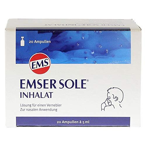 Emser Sole Inhalat mit Natürlichem Emser Salz –Inhalationslösung zur nasalen Anwendung – Bei Schnupfen, Nasennebenhöhlenentzündung & mehr – Für Langzeitanwender - 20 Ampullen à 5 ml