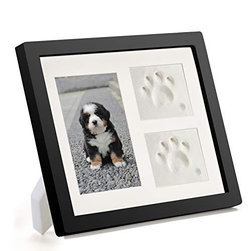 Coryfeel Hond of Kat Poot Prints Pet Memorial Triple Fotolijst 4x6 Met Klei Impressie Kit, Perfect Keepsake fotolijst voor Huisdier Liefhebbers Zwart/Wit