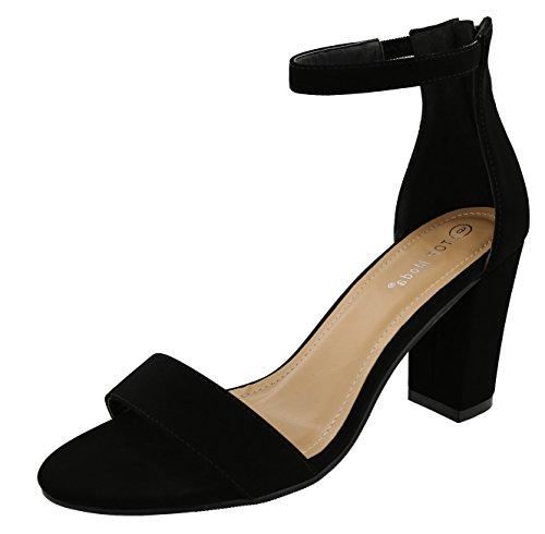 TOP Moda Women's Ankle Wrap Back Zip Chunky Block Heel Open Toe Dress Sandal (6.5 B(M) US, Black)