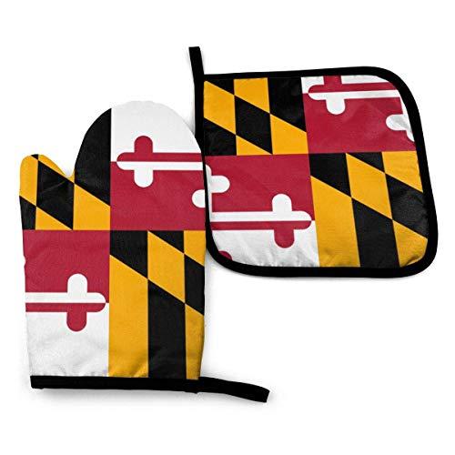 Juego de manoplas y agarraderas de horno de cocina para el hogar, juego de almohadillas calientes de guantes de barbacoa antideslizantes impermeables resistentes al calor con bandera de Maryland