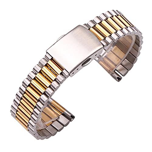 YANYAN MAYALI Pulsera de Reloj de Reloj de Acero Inoxidable 316L Pulsera de Oro de Plata de Oro 12mm 14mm 16mm 18mm 20 mm Correa de muñeca Reloj de Reloj (Band Color : Middle Gold, Band Width : 20mm)