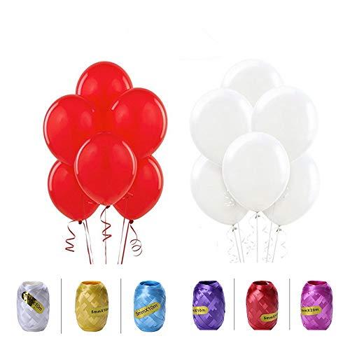 Minleer Globos de fiesta (200 unidades), color blanco y rojo claro para decoración de fiestas, cumpleaños, decoración de fiestas de 25 cm