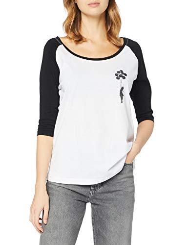 MERCHCODE Ladies Banksy Balloons Raglan Tee T-Shirt, Blanc/Noir, L Femme