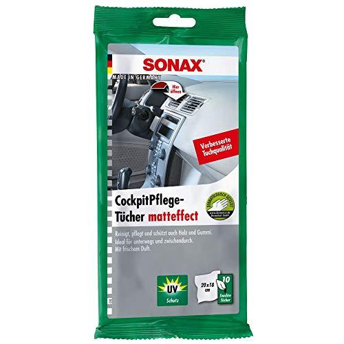 SONAX CockpitPflegeTücher Matteffect (10 Stück) Feuchte Tücher reinigen, pflegen und schützen alle Kunststoffteile, Holz und Gummi | Art-Nr. 04158000