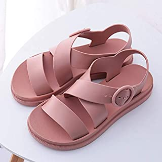 Flat Sandals Women Shoes Gladiator Open Toe Buckle Soft Jelly Sandals Female Casual Women's Flat Platform Beach Shoes Simple casual sandals and slippers (Color : Pink, Shoe Size : 8.5)