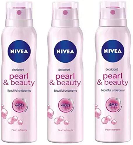 Nivea Pearl & Beauty Deodorant Spray for Women 150ML Each (Pack of 3) Deodorant Spray - For Women (450 ml, Pack of 3)