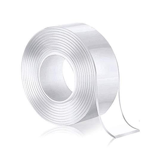 Mingdu 両面テープ 魔法テープ 水洗い可能,繰り返し使用 透明ナノ 多機能 取り外し可能 残らず 地震対策 家具滑り止め 空間節約 (2.5cm, 5m)