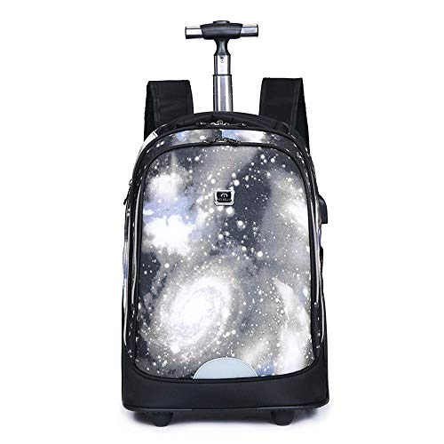 FREETT Unisex Trolley Backpack, High Capacity Trolley Suitcase, Luggage Case Bag for Child Student and School, Waterproof,7