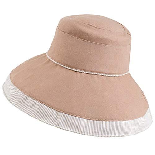 Llsdls Cool Hat Sunscreen Cover Cap Fisherman Shade Big Hat Anti-UV Réglable Respirant Voyage Équitation Randonnée Lumière (Color : Khaki)