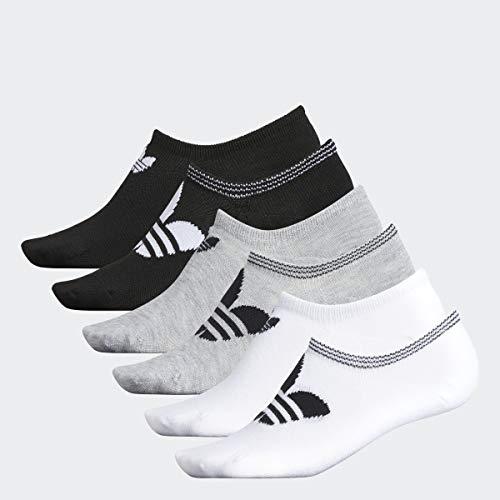 adidas Originals Trefoil Superlite Socken für Damen, 6 Paar, Damen, Women's Originals Trefoil 6-pack Super No Show Sock, Weiß/Hellgrau/Schwarz, Medium