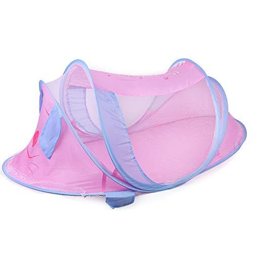 Amea Universal Baby Cradle Bed Moskitonetze, Insektenschutzmittel, Faltbare Vorhänge Netz, Atmungsaktive Reise Baby Zelt Strandspiel Zelt Bett Laufstall,Rosa,110 * 60 * 55cm
