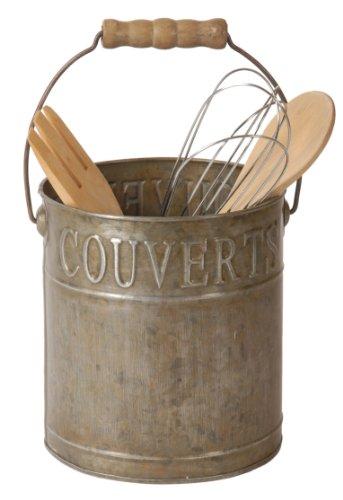 Portaposate francese, vintage, Shabby Chic, con manico in zinco (lingua francese)