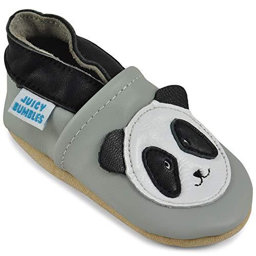 Juicy Bumbles - Weicher Leder Lauflernschuhe Krabbelschuhe Babyhausschuhe mit Wildledersohlen. Junge Mädchen Kleinkind- Gr. 18-24 Monate (Größe 24/25)- Panda
