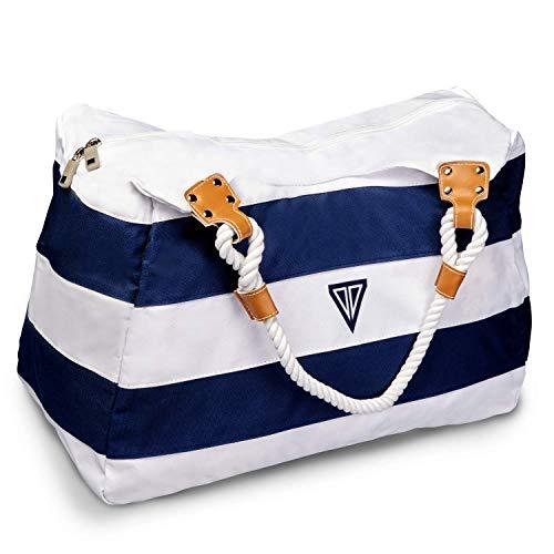 WildStage XL Strandtasche mit Reißverschluss - 45 x 24 x 36 cm - Hochwertige Schultertasche mit Innentasche - Saunatasche - Umhängetasche - Tragetasche - Damen Shopper - Blau und Weiß