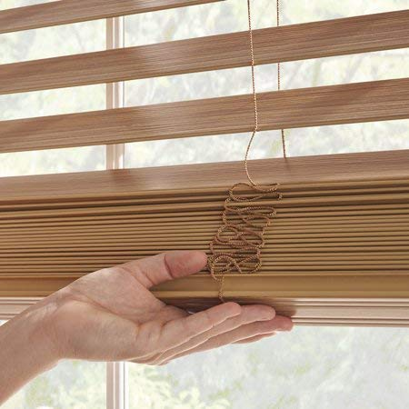 Better Homes and Gardens 2' Faux Wood Blinds, Easily Adjustable (Oak, 34X72)