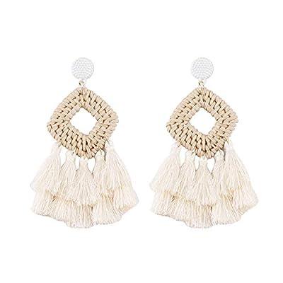 Bohemia Tassel Earrings Statement Handmade Dangle Ethnic Fringe Earrings Bamboo Weaving Geometric Square Sector Gifts for Women Girls (white square)