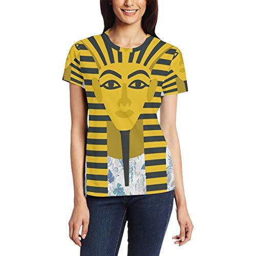 Egyptische gouden farao's masker vrouwen casual T-shirt korte mouw tuniek tops ronde hals blouse Comfy