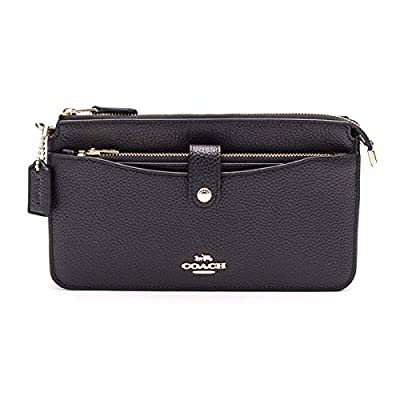COACH Women's Pop Up Messenger in Polished Pebble Leather Li/Black One Size
