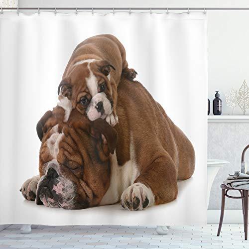 ABAKUHAUS Bulldog inglés Cortina de Baño, Padre e Hijo, Material Resistente al Agua Durable Estampa Digital, 175 x 200 cm, Marrón Blanco Negro