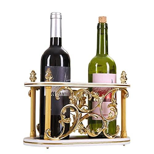 Estilo Europeo Estante de Vino Solid Wood and Metal Wine Hoderst Pantalla de visualización para Sala de Estar Contador de Vino o Regalo Clásico (Color : Gold)