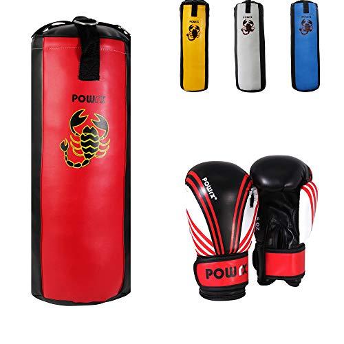 POWRX Boxset für Kinder/Jugendliche, Boxhandschuhe + Boxsack - ab 6 ((3 Fuß) (rot/schwarz)