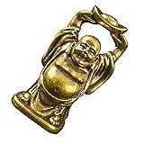 VOSAREA Estatuillas de Buda Sonriente de Latón Estatua de Buda Fengshui con Lingote Mini Adornos de Jardín Zen Estatua de Buda Feliz de La Suerte para La Salud de La Riqueza