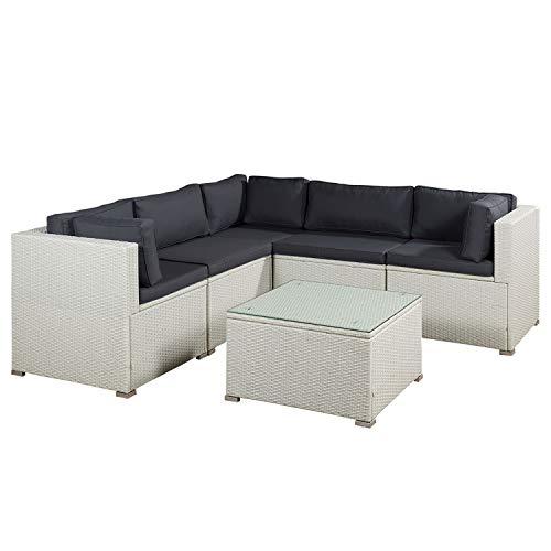 ArtLife Polyrattan Lounge Nassau weiß | Gartenmöbel-Set mit Ecksofa & Tisch | dunkelgraue Bezüge | Sitzgruppe für Terrasse & Wintergarten