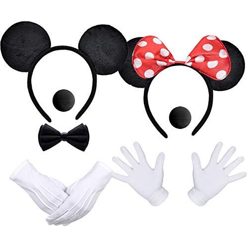 iZoeL Maus Kostüme Haarreifen mit Maus Ohren Rote Schleife und Schwarz + weiße Handschuhe + Nase (Maus Ohren Rot-schwarz + Maus Ohren Schwarze)