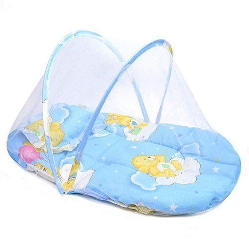 Baby Travel Bed with Pillow, Pop up Tent Babies Folding Baby Crib Mosquito Net Portable Baby Cots Newborn Foldable Crib Blue