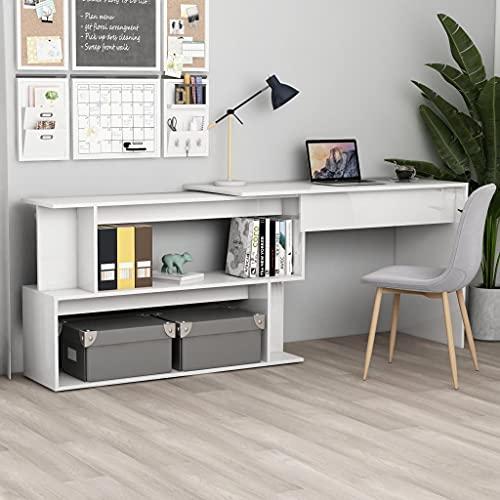 SHUJUNKAIN Escritorio esquinero aglomerado Blanco Brillante 200x50x76 cm Mobiliario Mobiliario de Oficina Escritorios Blanco con Brillo