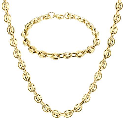 YADOCA Edelstahl Einfache Exquisite Kaffeebohne Halskette Armband 56 cm Halskette 21 cm Armband Set Herren und Damen Silber Gold