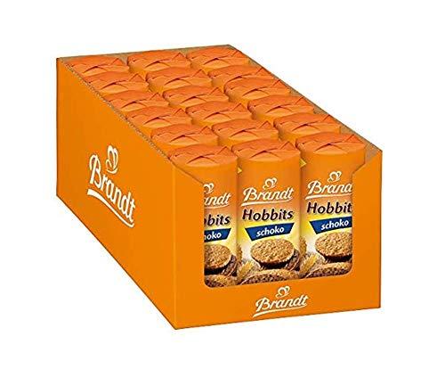 Brandt Hobbits Schoko - 18er Pack - Vorratskarton - ballaststoffreicher Vollkornkeks mit Haferflocken und zarter Schokoladenhälfte (18 x 265 g)